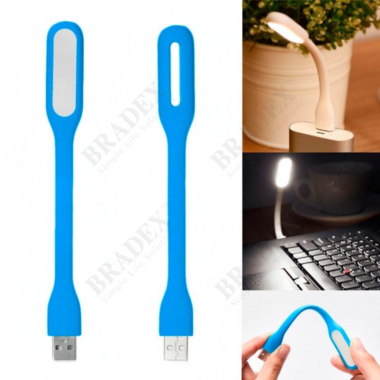 Мини-светильник гибкий светодиодный, голубой (led usb lamp, blue)