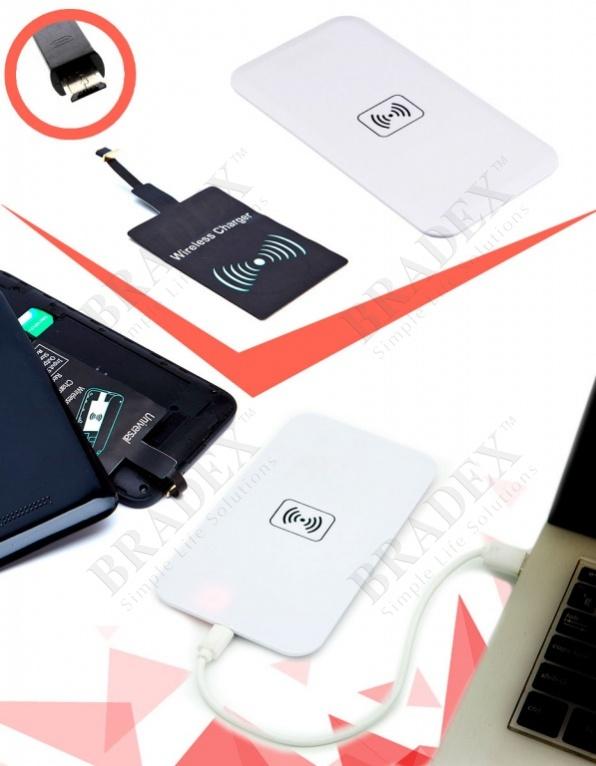 Аккумулятор беспроводной плоский для смартфонов с micro usb разъемом, белый (wireless portable accumulator (flat) micro usb, white)