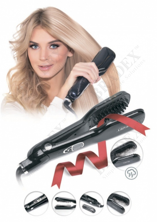 Стайлер для волос с парогенератором «магия шелка» (steam hair straightener brush)