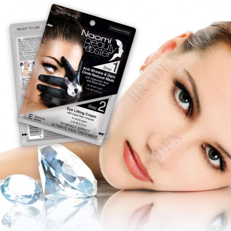 Комплексный уход за лицом: маска против морщин вокруг глаз, 7 мл. и лифтинг-крем, 3 мл. «naomi» (anti-wrinkle & dark circle reducer mask + eye lifting cream with hyaluronic acid and shea butter)