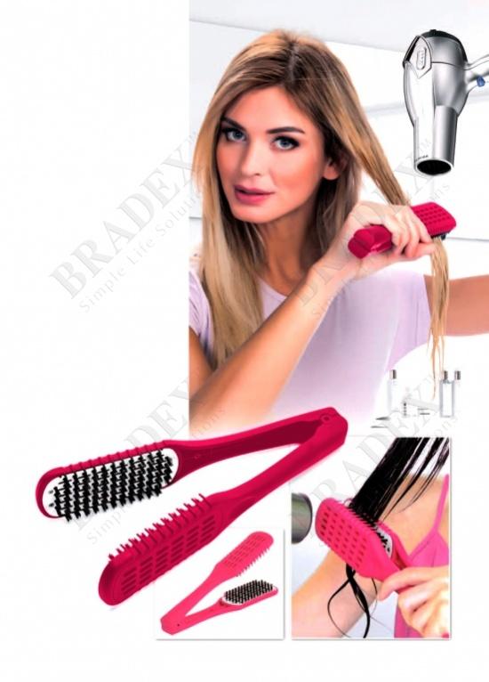 Расческа для выпрямления волос феном «шелковые пряди» малиновая (straight n go, crimson)