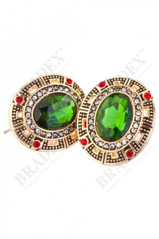 Серьги «клеопатра» earrings with green stone купить оптом