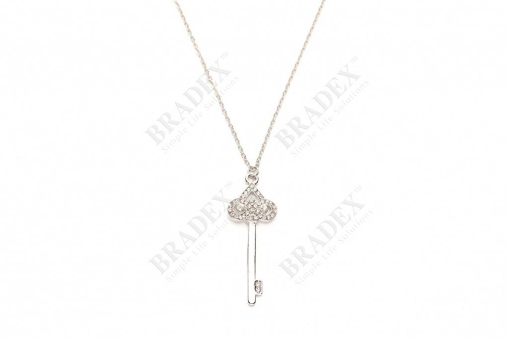 Колье «ключик» цвет серебряный pendant with chain купить оптом