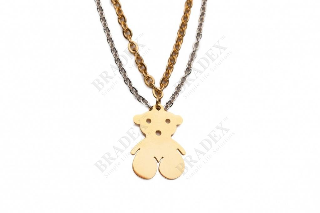Браслет «мишутка» цвет серебряный с золотым bracelet kb60755-z купить оптом