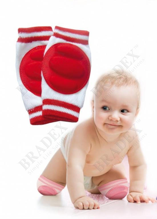 Наколенники детские для ползания красные (baby thicken sponge crawl knee pads, red)