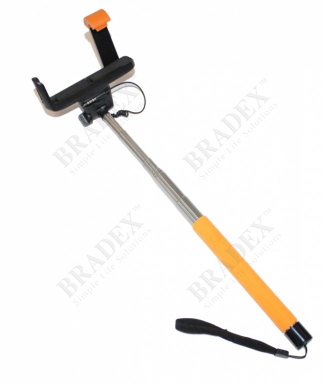 Штатив для создания снимков сэлфи оранжевый (camera stick - selfie stick – orange)