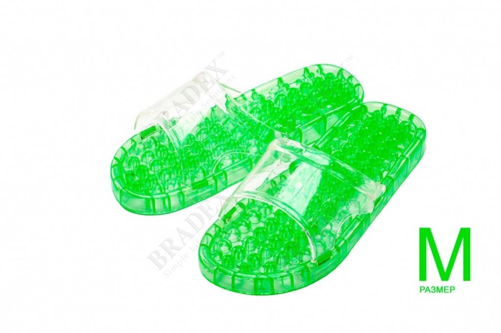 Тапочки массажные из силикона m (25см) (massage slippers size m, green color)