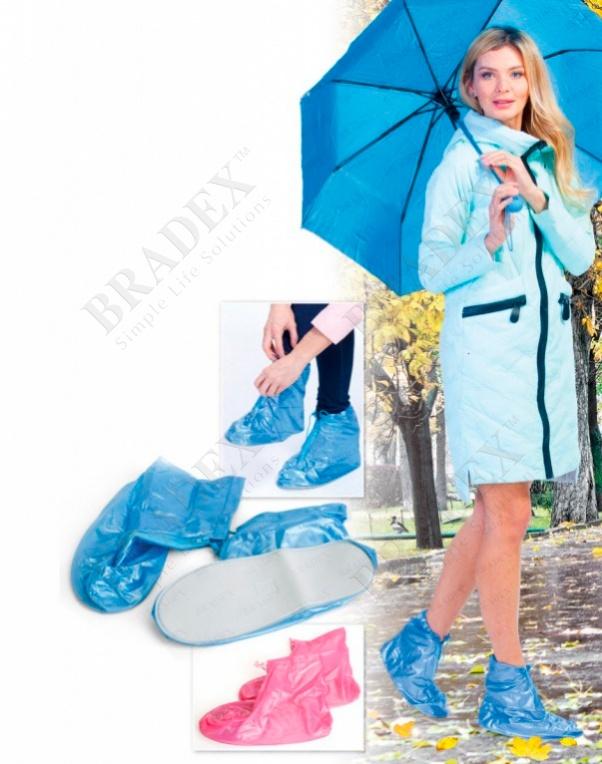 Чехлы грязезащитные для женской обуви без каблука, размер m, цвет розовый (pvc rain boots, size m, pink color)