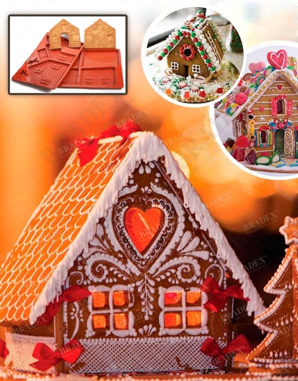 Форма силиконовая для выпечки «пряничный домик» (mould for cookeis house)