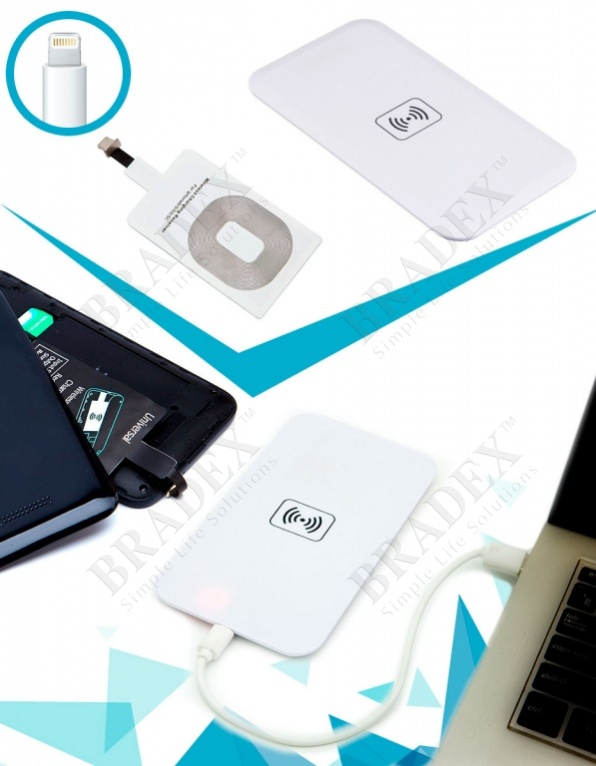 Аккумулятор беспроводной плоский для смартфонов с lightning разъемом, белый (wireless portable accumulator (flat) lightning, white)