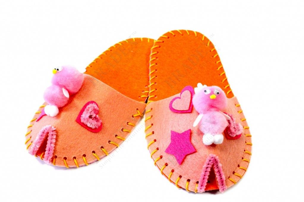Набор для творчества «шьем тапочки» модель цветок розовый (art and craft kit slippers diy - pink)